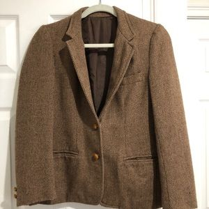 Vintage brown herringbone women's blazer